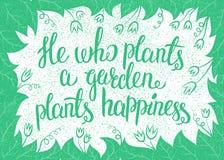 Van letters voorziend hij die een tuin plant plant geluk Vector illustratie stock illustratie