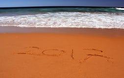 2017 van letters voorziend op het strand Royalty-vrije Stock Foto's