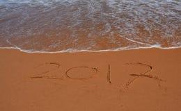 2017 van letters voorziend op het strand Royalty-vrije Stock Afbeelding