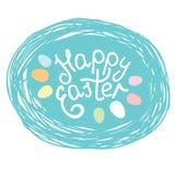 Van letters voorziend Pasen-etiket Gelukkige Pasen-typografieinschrijving in het nest Stock Foto