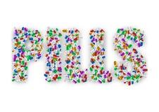 Van letters voorziend vele kleurrijke die pillen op witte achtergrond worden geïsoleerd Gecreeerde achtergrondschaduw Stock Foto's
