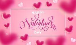 Van letters voorziende de tekst greetign kaart van de valentijnskaartendag van het patroon van valentijnskaartharten op roze acht Royalty-vrije Stock Afbeelding
