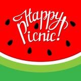 Van letters voorziende gelukkige picknick Stock Afbeelding