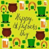 Van letters voorziende Gelukkige St Patricka Dagvlakte Royalty-vrije Stock Afbeeldingen