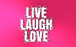Van letters voorziende illustratie met Live Laugh Love-tekst Royalty-vrije Stock Foto
