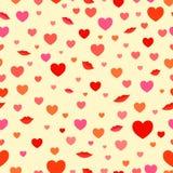 Van liefdeharten en lippen patroon Royalty-vrije Stock Foto