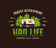 Van life embleem voor t-shirt vector illustratie