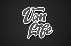 van life hand het schrijven van het de typografieontwerp van de woordtekst het embleempictogram vector illustratie