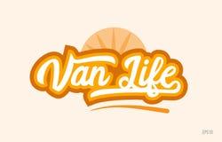 van life het oranje pictogram van het de tekstembleem van het kleurenwoord stock illustratie