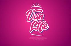 van life pictogram van het de typografie het roze ontwerp van de woordtekst vector illustratie
