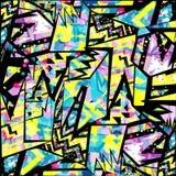 Van lijncirkels en veelhoeken samenvatting gekleurde geometrische achtergrond stock illustratie