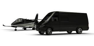 Van limousine mit Privatjet Stockfotos