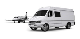Van limousine with private jet. 3D render image representing an ptivate jet with a van limousine Royalty Free Stock Photo