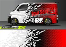 Free Van Livery Graphic Vector. Abstract Grunge Background Design For Vehicle Vinyl Wrap And Car Branding Stock Photos - 139321013