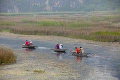 Van Long naturlig reserv i Ninh Binh, Vietnam Arkivbild