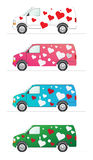 Van of love. An  illustration of a van with stiks in sahpes of a heart. Great for Valentine aniversay Royalty Free Stock Photos