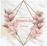 8 van maart modern ontwerp als achtergrond met bloemen Gelukkige modieuze de groetkaart van de vrouwen` s dag met kersenbloesems  royalty-vrije stock afbeeldingen