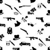 Van maffia misdadig zwart symbolen en pictogrammen naadloos patroon Stock Afbeeldingen