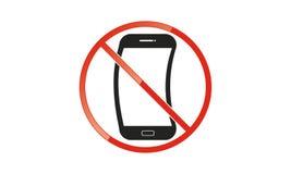 Van Mobiel Teken schakel Telefoonpictogram uit Geen Telefoon Toegestaan Mobiel Waarschuwingssymbool royalty-vrije illustratie