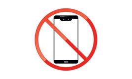 Van Mobiel Telefoonteken schakel Telefoonpictogram uit Geen Telefoon Toegestaan Mobiel Waarschuwingssymbool royalty-vrije illustratie