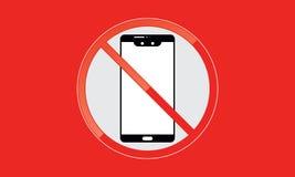 Van Mobiel Telefoonteken schakel Telefoonpictogram uit Geen Telefoon Toegestaan Mobiel Waarschuwingssymbool vector illustratie