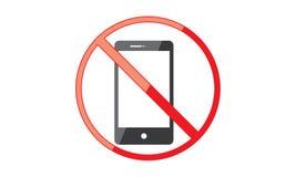 Van Mobiel Telefoonteken schakel Telefoonpictogram uit Geen Telefoon Toegestaan Mobiel Waarschuwingssymbool stock illustratie