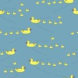 van moeder eenden en eendjes naadloos patroon Stock Afbeelding