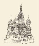 Van Moskou (Kathedraal van Vasily Heilig) de de stadsarchitectuur, wijnoogst graveerde illustratie Royalty-vrije Stock Fotografie