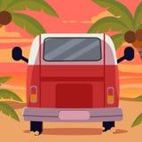 Van na praia com por do sol no tema do verão ilustração stock