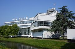 Van Nelle factory in Rotterdam, the Netherlands. Rotterdam, the Netherlands. May 2018. The former Van Nelle Factory Dutch: Van Nelle fabriek on the Schie river royalty free stock images