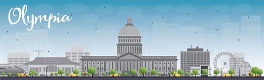 Van Olympia (Washington) de Horizon met Grey Buildings en Blauwe Hemel Royalty-vrije Stock Fotografie