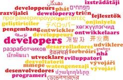 Van ontwikkelaars meertalig wordcloud concept als achtergrond royalty-vrije illustratie