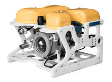 Van op afstand bediend onderwaterdievoertuig op wit wordt geïsoleerd Royalty-vrije Stock Foto