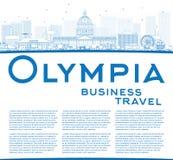Van overzichtsolympia (Washington) de Horizon met de Blauwe Bouw Royalty-vrije Stock Afbeelding