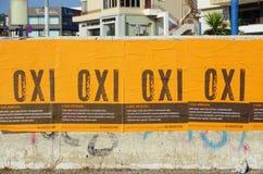 Van OXI (Geen) tekens voor het referendum tegen euro crisisbailout Royalty-vrije Stock Afbeeldingen