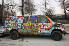 Van painted with graffiti at East Williamsburg in Brooklyn Royalty Free Stock Photo