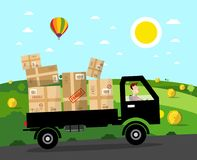 Van with Parcels on Rural Road. Vector Landscape. Natural Scene Vector Illustration