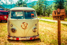 Van parked in a sunny summer day. In a vintage festival in Italy Stock Photos
