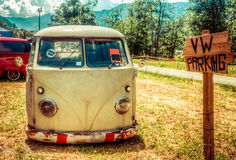 Van parked in a sunny summer day Royalty Free Stock Photos
