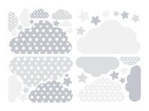 Van pastelkleur grijze wolken en sterren vectorinzameling met sterren voor jonge geitjes Wolk het pak van de gegevensverwerkingsd royalty-vrije illustratie