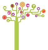 Van pictogramvruchten en groenten abstracte boom