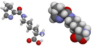 Van Pyrrolysine (Pyl, O) de molecule. Stock Afbeeldingen