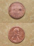 Van reeks: muntstukken van wereld. Amerika. ÉÉN CENT. stock foto