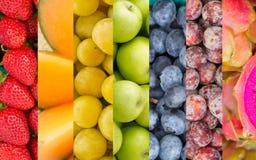Van regenboogvruchten en Groenten Collage Stock Afbeeldingen