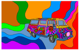 Van retro  70's on a colored background Stock Images