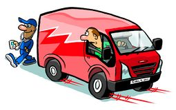 Van reversing into a man. Person in a red cartoon van reversing into someone listening to music and crossing a road Royalty Free Stock Photo