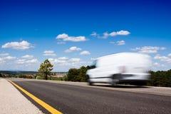 Van in the road stock photo