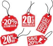 20% van rode markeringsreeks, vectorillustratie Stock Foto's