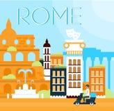 Van Rome Traditionele Vectorillustratie Als achtergrond Royalty-vrije Stock Afbeelding