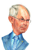 Van Rompuy Caricature Sketch Stock Photo